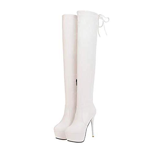 LOVOUO Mode Botte Cuissarde Femme Haute Plateforme Talon Aiguille Haut à Lacet Sexy Stiletto Thigh High Heels Boots Chaussure Fermeture Eclair Hiver (Blanc, Numeric_38)