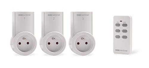 Prise télécommande intérieur - Prises télécommandée - Prise Coupe Courant - Prise télécomandée avec télécommande - Kit 3 Prises télécommandées Controlpower 2300W - HCN0016 SCS Sentinel