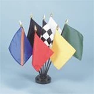 """Official Auto Racing 7-Flag Desk Table Top Set 4"""" X 5"""" Fabric Flags on 10"""" Black Plastic Staff with Gold Spear tip and 7 H..."""
