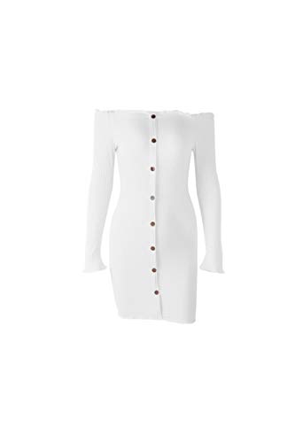 Sexy Bodycon Sweater Dress Rib Knit Button Off Shoulder Long Sleeve Mini Dresses Fall,White,S