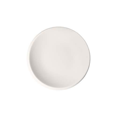 Villeroy & Boch - NewMoon Brotteller, kleiner Teller für Frühstück, Brunch oder Vorspeisen aus Premium Porzellan, spülmaschinengeeignet, 16 cm, weiß