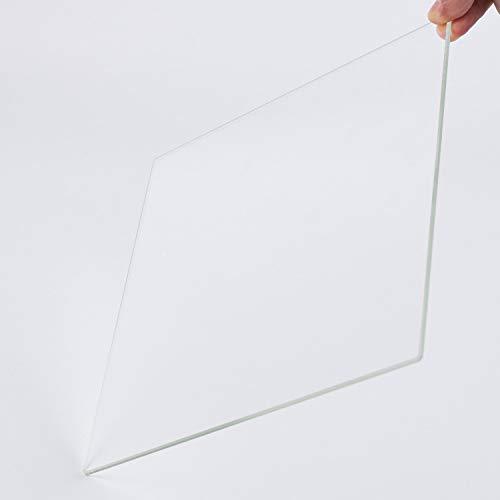 Piastra di costruzione in vetro borosilicato 255 mm x 255 mm x 3 mm per stampanti 3D, vetro perfettamente piatto con bordi lucidi.