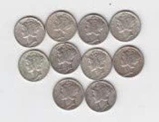 1940 's Mercury Dimes (10) Silver Circulated $1.00 Face VG-08