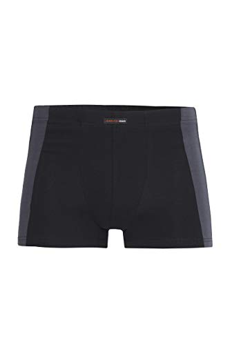 con-ta Pants, Bequeme Unterwäsche für Herren, mit Kontrastabsatz, aus natürlicher Baumwolle, weicher, Herrenunterwäsche, in Schwarz/Graphit, Größe: 7