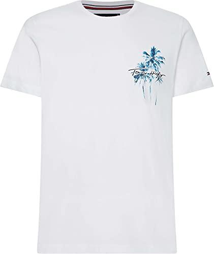 Tommy Hilfiger Palm Box Print tee Camiseta, Blanco, M para Hombre