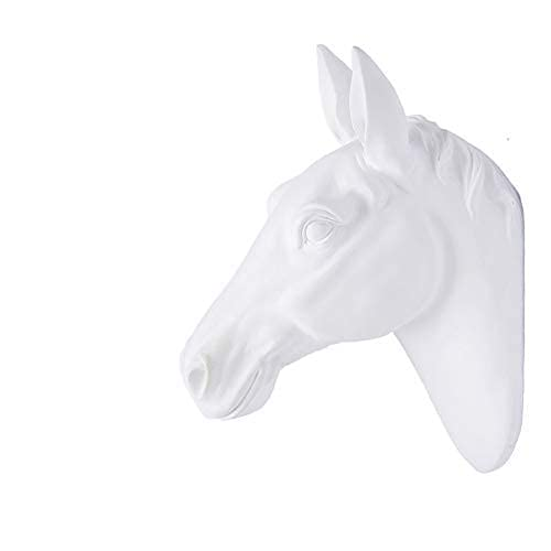 Horse Head Faux Wall Mount Bust Fake Animal Resin Taxidermy Decorative For Home Or Office (White)
