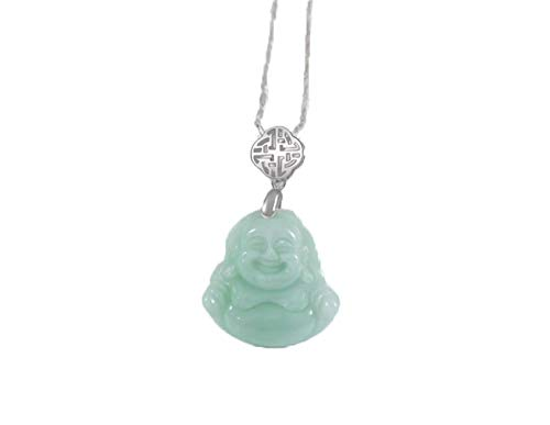 Collar de plata de ley 925 con colgante de Buda de jade natural para mujer Maitreya Buddha