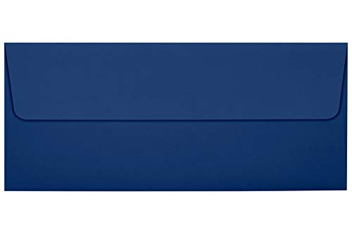 #10 Square Flap Envelopes w/Peel & Press (4 1/8 x 9 1/2) - Navy Blue (50 Qty.)   Business   For Checks, Invoices, Letters & Mailings   Printable   80lb Text Paper   LUX-4860-103-50