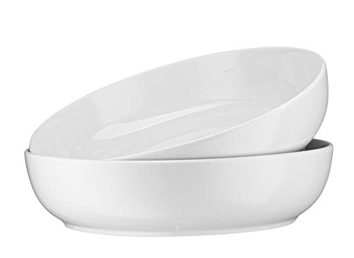 Ceramic Serving Bowls, For Snacks, Salad, Pasta, Cereal, White, by KooK, Set of 3, 9 inch, 26oz