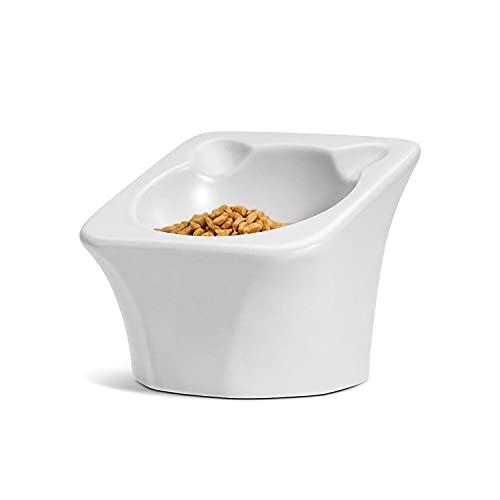 ComSaf Keramik Futternapf Katze, 15 ° Gekippte Katzennapf, Futter- und Trinknapf für Hunde und Katzen, rutschfest Wasser Fütterung Schüssel Fressnapf Katze