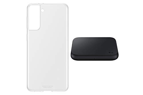 Samsung Galaxy S21+ 5G, Triple-Kamera, Infinity-O Display, 128 GB Speicher, leistungsstarker Akku, Phantom Silver S21+ Clear Cover transparent inkl. Wireless Charger Pad P1300