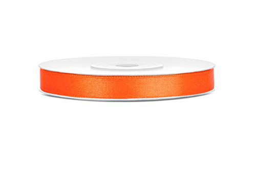 25m x 6mm Rolle Satinband Geschenkband Schleifenband Dekoband Satin Band (Orange)