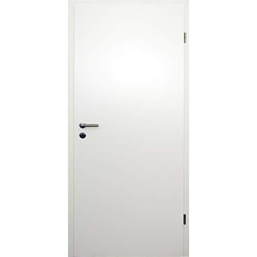 HORI® Zimmertür Komplettset mit Zarge und Türdrücker I Innentür weiß lackiert I Höhe 198,5 cm I 610 mm I DIN Rechts I Wandstärke: 80 mm (78-97 mm) mm