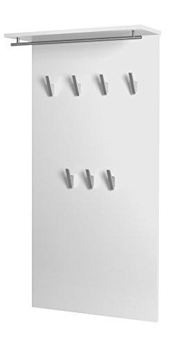 Schildmeyer Brisbane Garderobe 133486, Melaminharzbeschichtete Spanplatte, weiß glanz, 60.0 x 20.5 x 120.5 cm