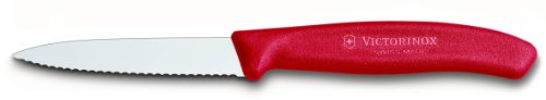 Victorinox KC-10016 3.25 3.25 Inch Swiss Classic Paring Knife with Serrated Edge, Spear Point, Red, 18/8 Stainless Steel