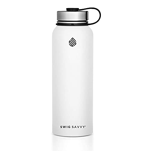Stainless Steel Water Bottle, Vacuum Insulated Double Wall and Wide Mouth Design Drinking Tumbler for Hot and Cold Drinks by Swig Savvy, 890ml, White