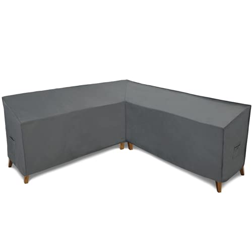 Patio Watcher 100 Inches Sectional Lounge Set Cover, Waterproof Patio Furniture Sectional V Shaped Sofa Cover, Grey, for Lawn, Porch, Yard, Garden