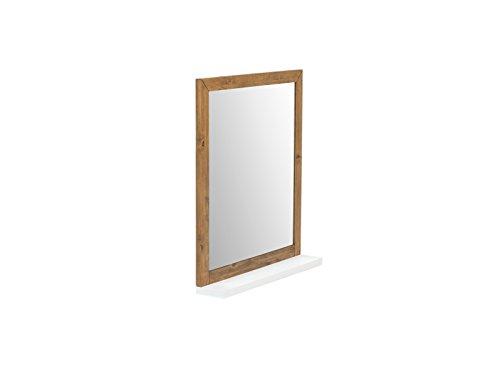 Woodkings® Spiegel 80x70cm Burnham Echtholz recycelte Pinie Natur rustikal Badspiegel in Beton Optik Möbel Badmöbel Badezimmerspiegel (Weiß)