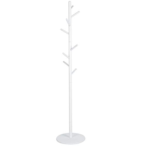 Appendiabiti da Terra, 36x169 cm, Appendiabiti di Design a Piantana da Terra, Stand Attaccapanni con 12 Ganci, per Vestiti, Borse, Sciarpe, per Corridoio, Entrata(Bianco)