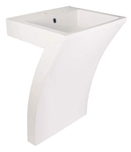 Calmwaters® 55 cm breites Standwaschbecken aus Mineralguss mit Überlauf und Hahnloch - 05BC2374