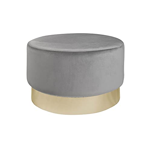 riess-ambiente.de Eleganter Hocker MODERN BAROCK 55cm Samt Silber Gold Couchtisch Sitzhocker Polsterhocker