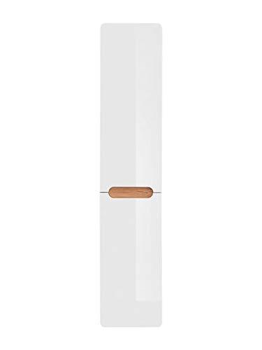 Jadella Badschrank \'Ariba II\' Hochschrank Eiche Dekor Hochglanz Weiß mit Wäschekorb