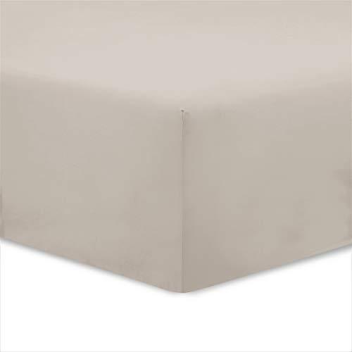 Vision - Sábana Bajera (100% algodón, 140 x 190 cm), Color Beige