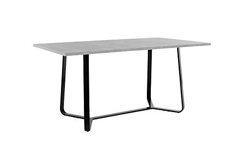 HOMEXPERTS Tisch TILDA / 160 cm Länge / Esstisch mit hochwertiger Melaminbeschichtung in Light Atelier Beton-Optik / Grauer Wohnzimmertisch / Gestell Metall Schwarz / 160x76x90cm (BxHxT)