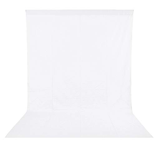 BDDFOTO 1,8 x 2,8m Photo Studio Fotohintergrund Weiß 100% Reiner Baumwolle Muslin Faltbare Whitescreen Background Fotoleinwand für Fotografie, Video und...