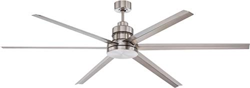 Craftmade MND72BNK6 Mondo 72 Inch Large Industrial Outdoor Patio Ceiling Fan with Remote & Wall Control, 6 Metal Blade, Aluminum