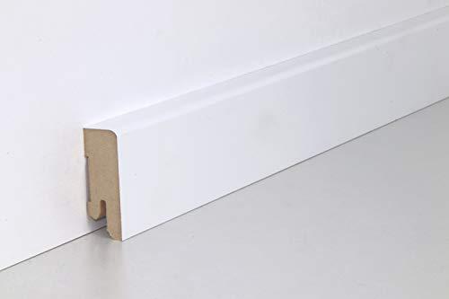 Schnell | Clip Sockelleisten Weiß mit Kabelkanal unsichtbare Befestigung 18mm x 50mm x 2,5m geeignet für Feuchträume | Blütenweiß
