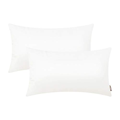 BRAWARM Pack of 2 Cozy Bolster Pillow Covers Cases for Couch Sofa Home Decoration Solid Dyed Soft Faux Leather Both Sides 12 X 20 Inches White