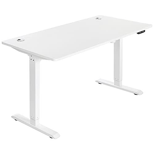 SONGMICS Elektrischer Schreibtisch, höhenverstellbar, Schreibtischständer, Tischgestell mit Motor, 140 x 70 x (73-114) cm, Stahl, weiß LSD012W01