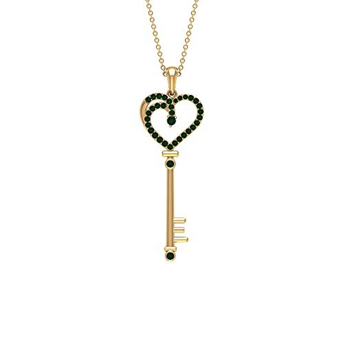 Colgante de turmalina verde de 1/4 quilates con llave de corazón (calidad AAA)