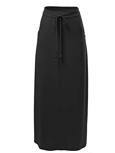 A2Y Drawstring Waist Side Pockets Rayon Maxi Skirt Black 1XL