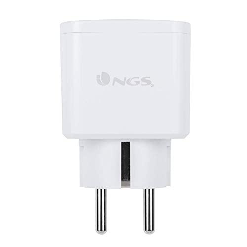 NGS LOOP TRACK - Enchufe Inteligente Wifi de 16A MAX, Ahorro Energetico controlado por la App NGS ORB, Compatible con Amazon Alexa o Google Assistant, 3680W, Color Blanco
