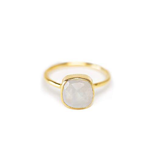 Ring Mondstein 925 Silber vergoldet Geschenk