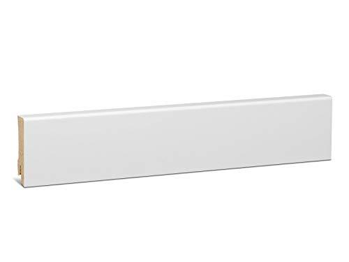 KGM Fußleiste weiß 58mm | Modern Bodenleiste weiss ✓Echtholz foliert ✓für Parkett & Laminat ✓weiße Leiste mit Starkfolie✓unsichtbare Clip Montage |gerade Fußleisten 16x58x2500mm