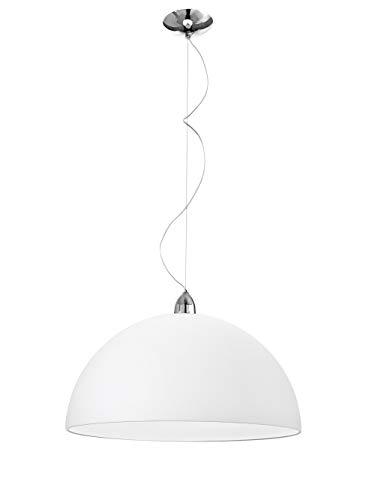 lampadario cupola lampadario lampada a sospensione ø40 cm per tavolo cucina moderna cupola vetro bianco e27 led