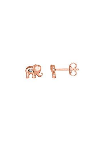XENOX Ohrringe XS1540R Damen Ohrstecker Elefant Ethno Club Sterling-Silber 925 Rose Weiß Zirkonia
