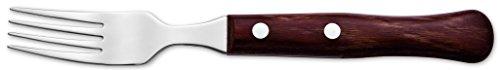 Arcos Couteaux de Table - Fourchette à Steak - Acier Inoxydable 18/10 et 225 mm - Manche Bois Comprimé Couleur Brun