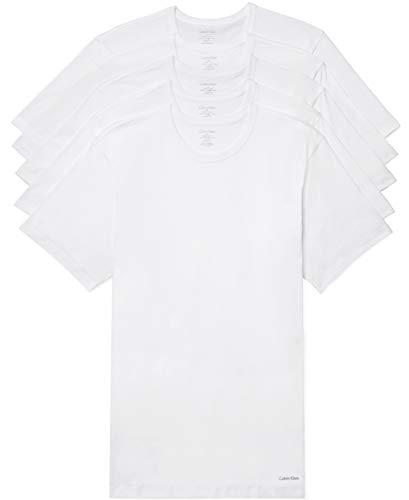 Calvin Klein Men's Cotton Classics Slim Fit Crew Neck T-Shirts, White (5 Pack), L
