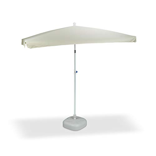 2 tlg. Sonnenschirm Set, Sonnenschirm rechteckig, 200 x 120 cm, Sonnenschirmständer, Schirmständer grau, Neigefunktion