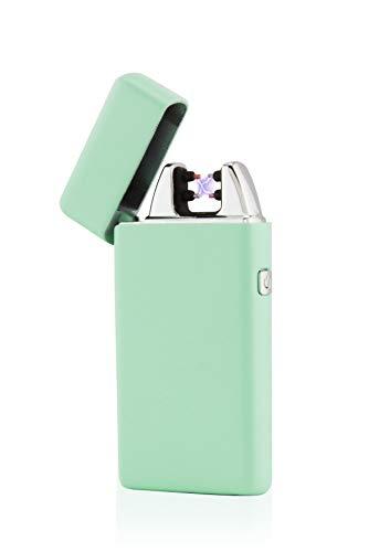 TESLA Lighter T05 Lichtbogen Feuerzeug, Plasma Single-Arc, elektronisch wiederaufladbar, aufladbar mit Strom per USB, ohne Gas und Benzin, mit Ladekabel, in edler Geschenkverpackung Mint