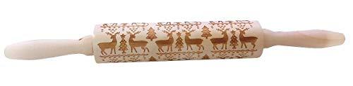 Inception Pro Infinite - Rodillo grabado de madera – gofrado – Navidad – Decorativo – Tallado – Cocina – Galletas – Pasteles – Productos de horno – Renos – Árbol – Abeto