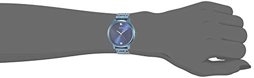 GUESS Women Analog Quartz Watch with Stainless Steel Strap, Blue, 18 (Model: GW0073L3)