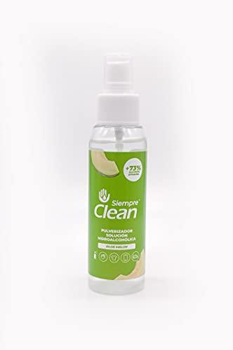 SiempreClean | Solución Hidroalcohólica con Pulverizador | Solución Higienizante Suave con la Piel | 73% de Alcohol Etílico | Perfume Melón, 100 ml