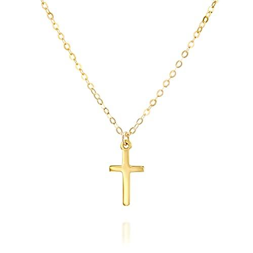 Minimalist Gold Cross Necklace - 16 inch + 2 inch extending chain - Designer Handmade Christian Gift