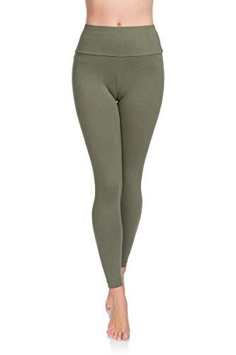 Soft Sail Damen Leggings, hohe Taille, Bauchkontrolle, weiche Baumwolle Gr. 44, Khaki