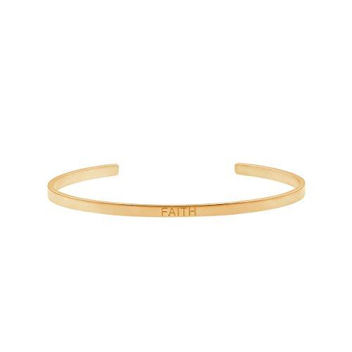 Heideman Armband Damen mit Gravur Freundschaftsarmband aus Edelstahl Gold farbend matt Armkette für Frauen mit Spruch Faith Länge einstellbar